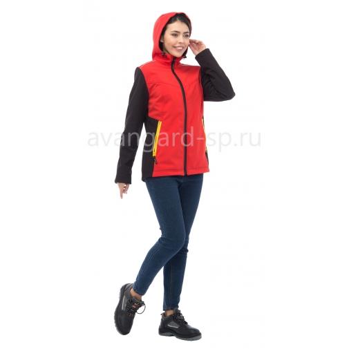"""Куртка женская софтшелл """"Тайм"""" с капюшоном Красная"""