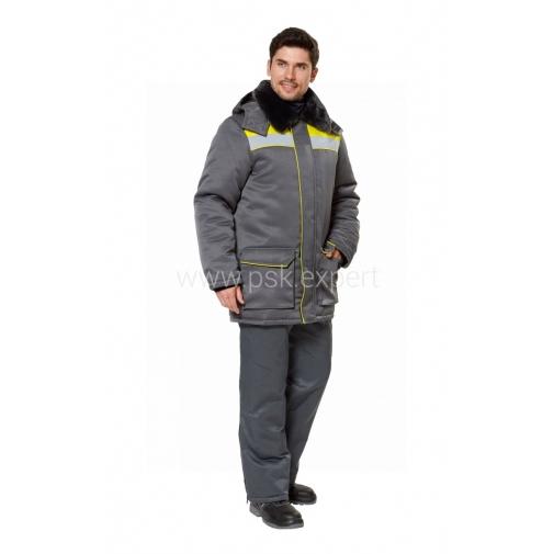 "Куртка рабочая мужская зимняя ""Прим"" цвет серый/желтый"