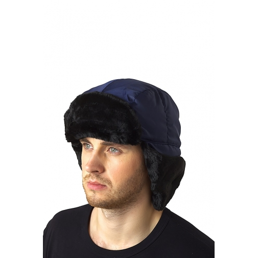Шапка-ушанка зимняя цвет темно-синий