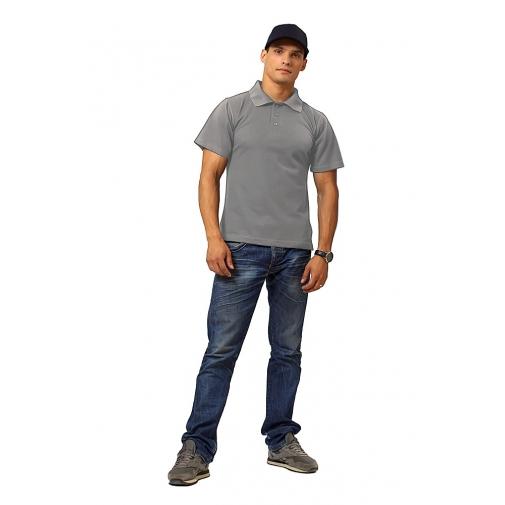 """Рубашка мужская """"Поло"""" короткий рукав цвет серый"""