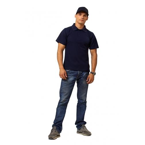 """Рубашка мужская """"Поло"""" короткий рукав цвет темно-синий"""