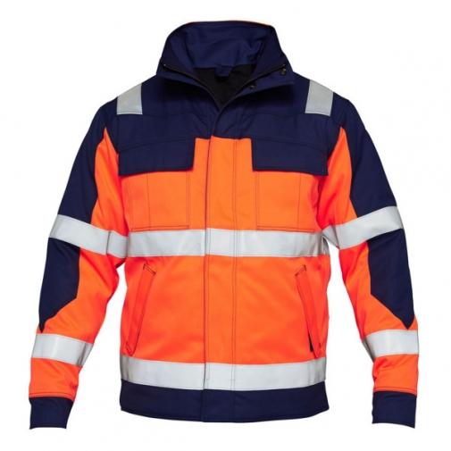 Зимняя антистатическая огнеупорная куртка Engel Safety + 1935-830, сигнальный оранжевый/синий