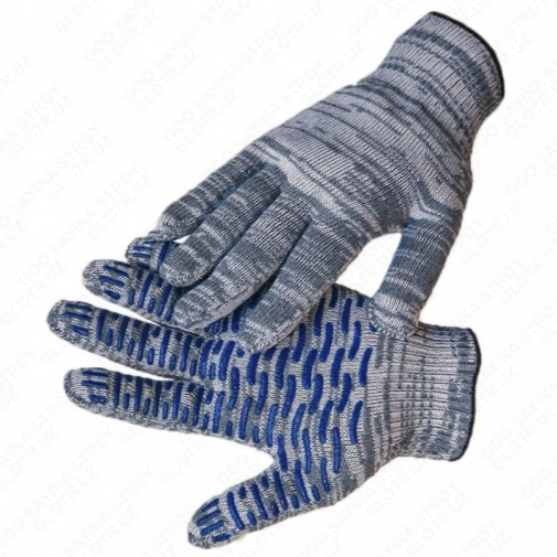 10,6 - Перчатки 10 класс (6 нитей) с ПВХ волна серые