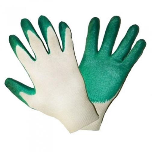 Перчатки трикотажные с 2-ым латексным обливом (Зеленые) уп.300 пар