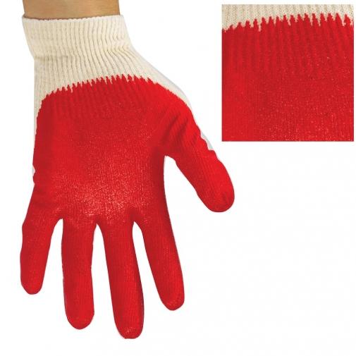 Перчатки трикотажные с 2-ым латексным обливом (Красный) уп.300 пар