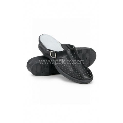 Сабо женские кожаные цвет черный